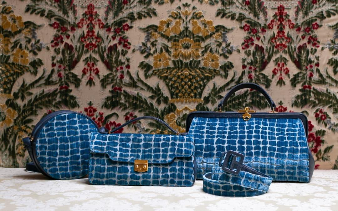Borse Antonia Anna Artemisia velluto Coccodrillo indaco | Tessitura Bevilacqua