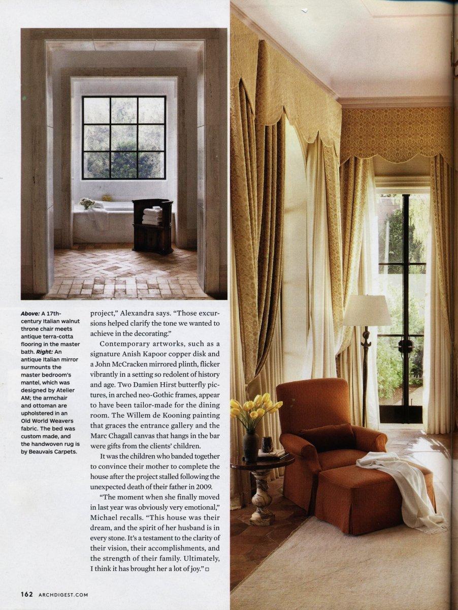 Architectural Diget settembre 2012 velluto per tende Rinascimento | Tessiture Bevilacqua