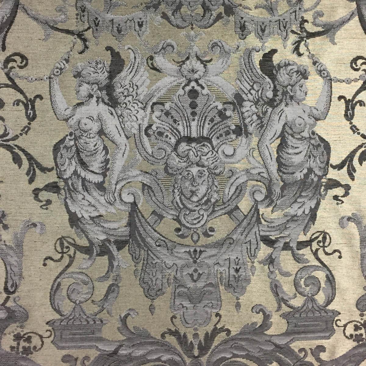 Broccatello Grottesche 109-34135 azzurro antico | Tessiture Bevilacqua