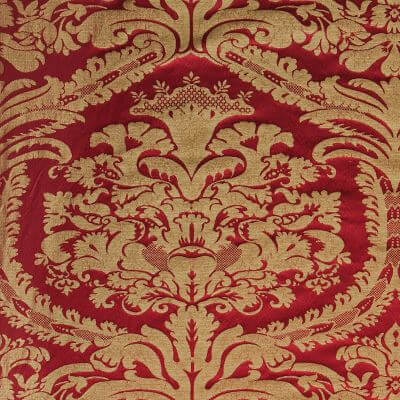 Damasco Craquelé 144-31089R rosso-oro | Tessiture Bevilacqua