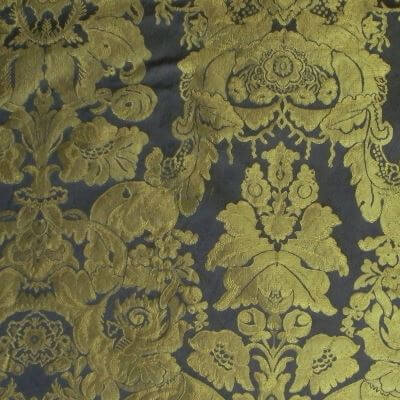 Damasco Craquelé Giardino 099-33077 blu-oro | Tessiture Bevilacqua