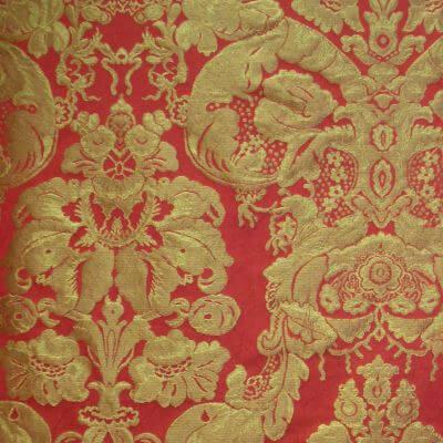 Damasco Craquelé Giardino 144-33077 rosso-oro | Tessiture Bevilacqua