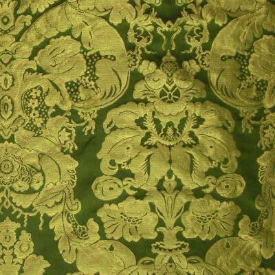 Damasco Craquelé Giardino 168-33077 smeraldo-oro | Tessiture Bevilacqua