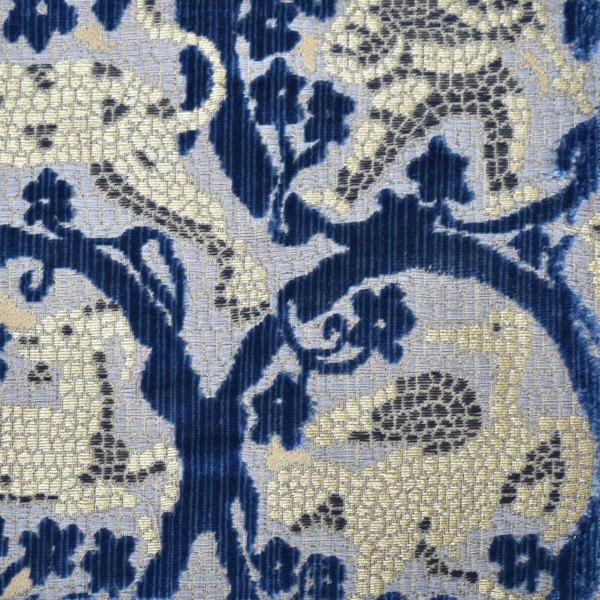 Velluto bacchetta Mosaico 407-3987S multicolore indaco | Tessiture Bevilacqua