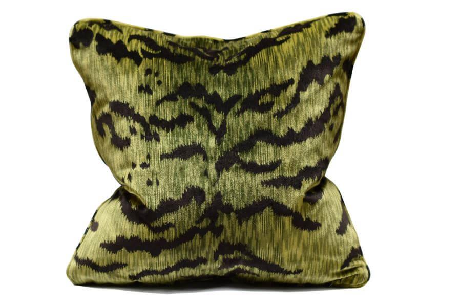 Cuscino Velluto Tigre verde   Tessiture Bevilacqua