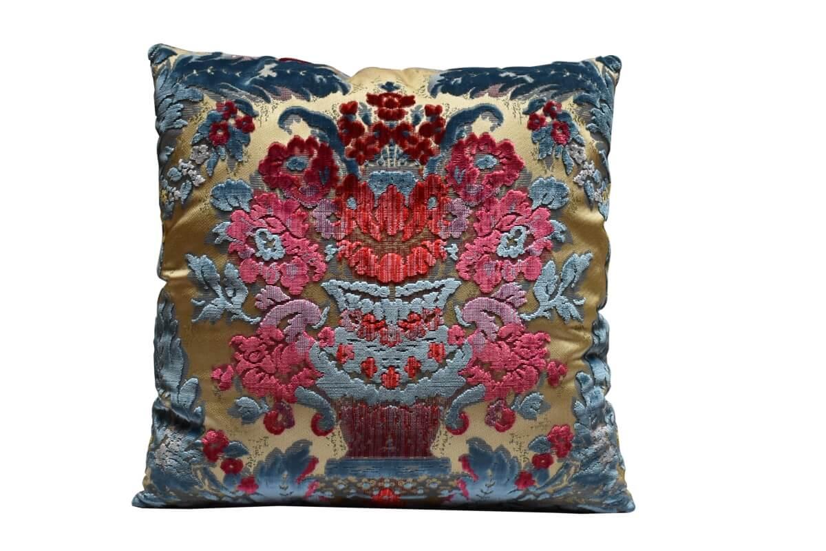 Cuscino velluto Giardino Antico Turchese fronte e retro | Tessiture Bevilacqua