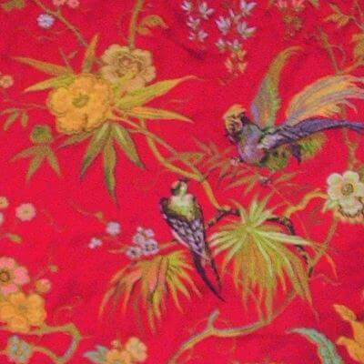 Lampasso Uccelli 304-34214 rosso | Tessiture Bevilacqua