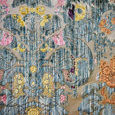 Velluto Fioroni 030-30771 fondo avorio multicolore verde dettaglio   Tessiture Bevilacqua