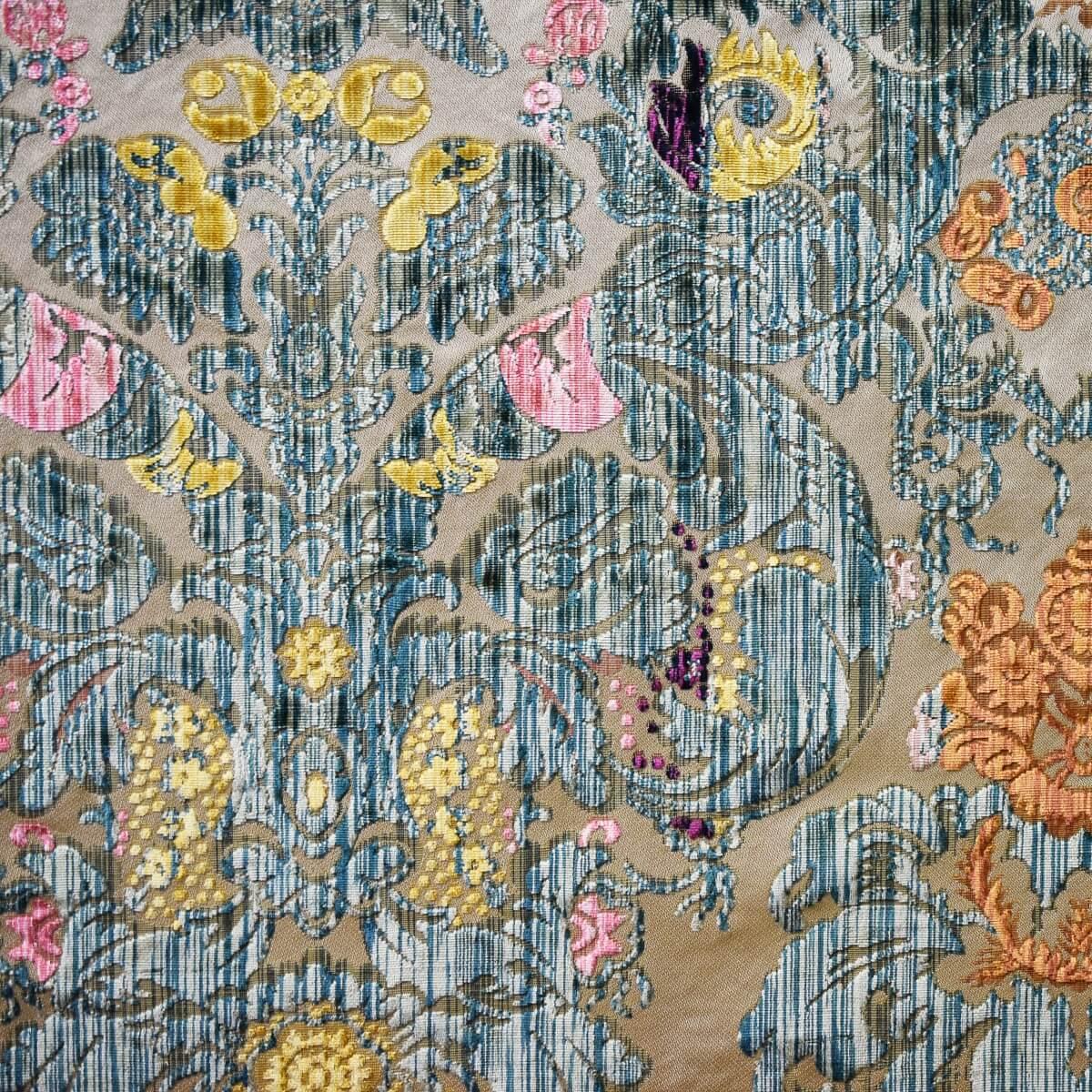 Velluto Fioroni 030-30771 fondo avorio multicolore verde dettaglio | Tessiture Bevilacqua