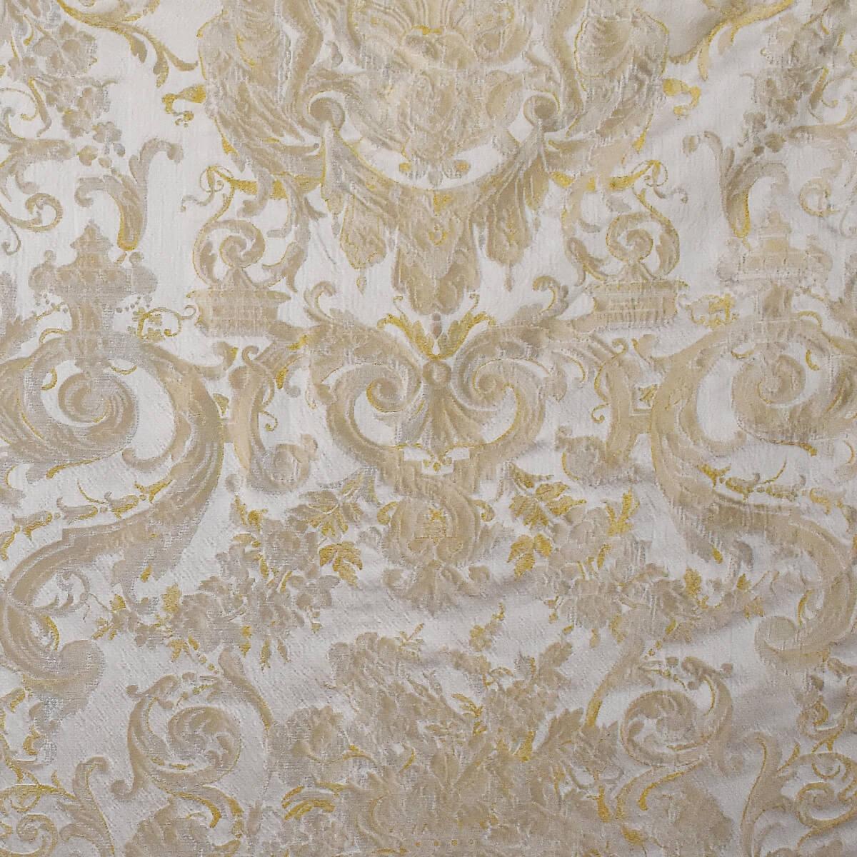 Damasco Grottesche Craquelé 358-31035 perla-oro | Tessiture Bevilacqua