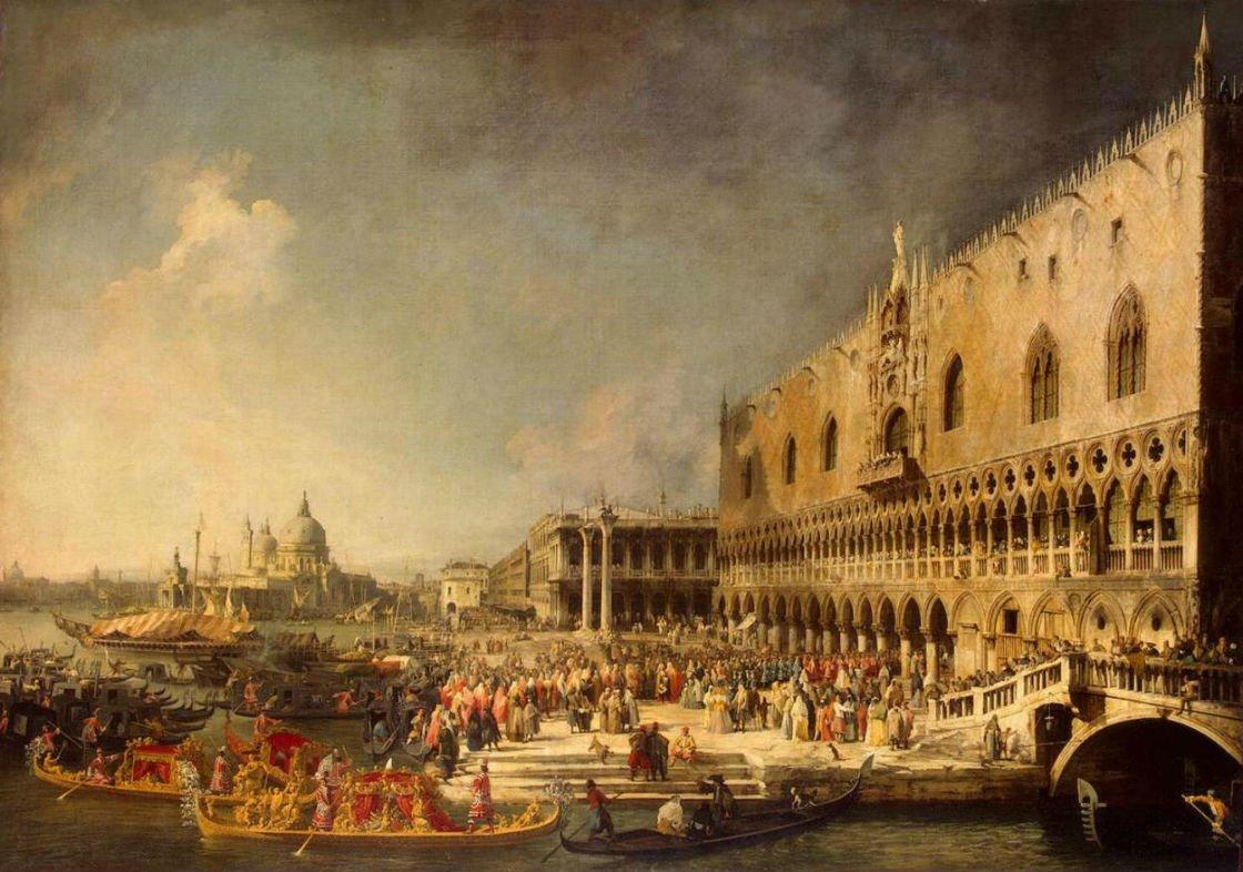 Canaletto-Arrivo ambasciatore francese a Palazzo Ducale | Tessitura Bevilacqua