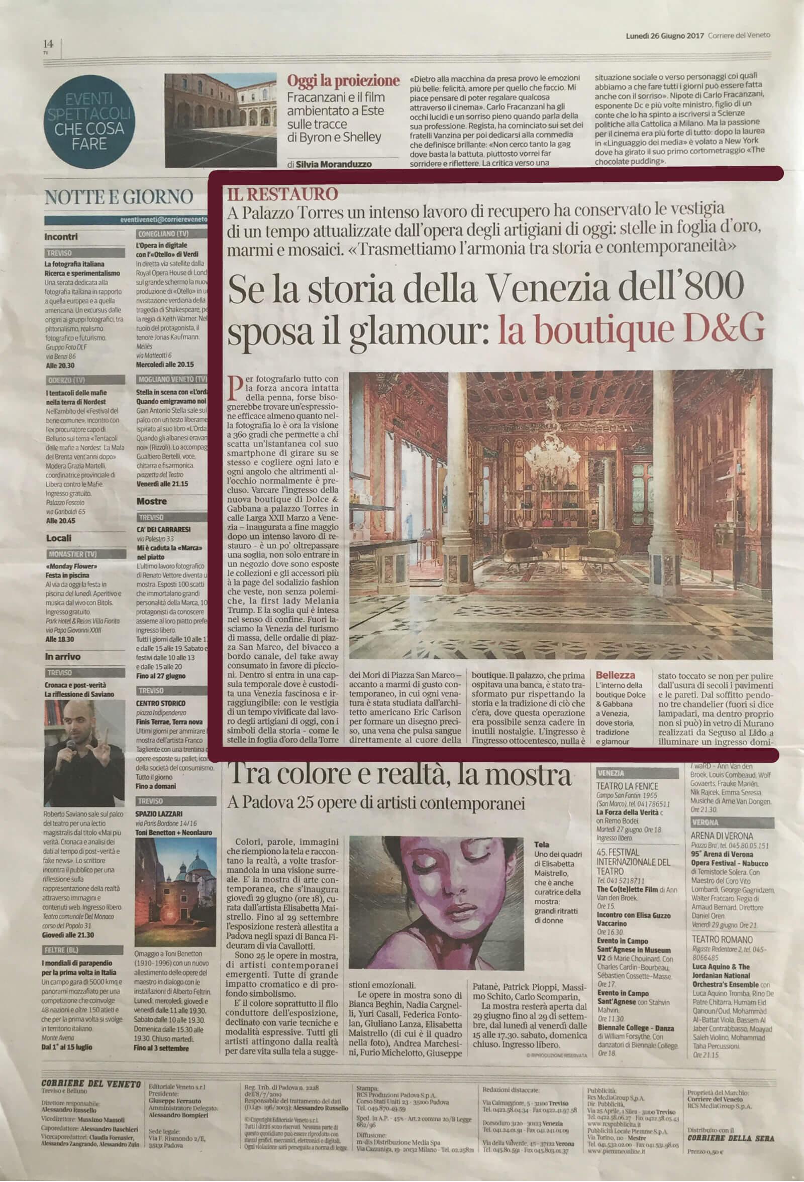 Corriere del Veneto 26-06-2017-14 | Tessiture Bevilacqua