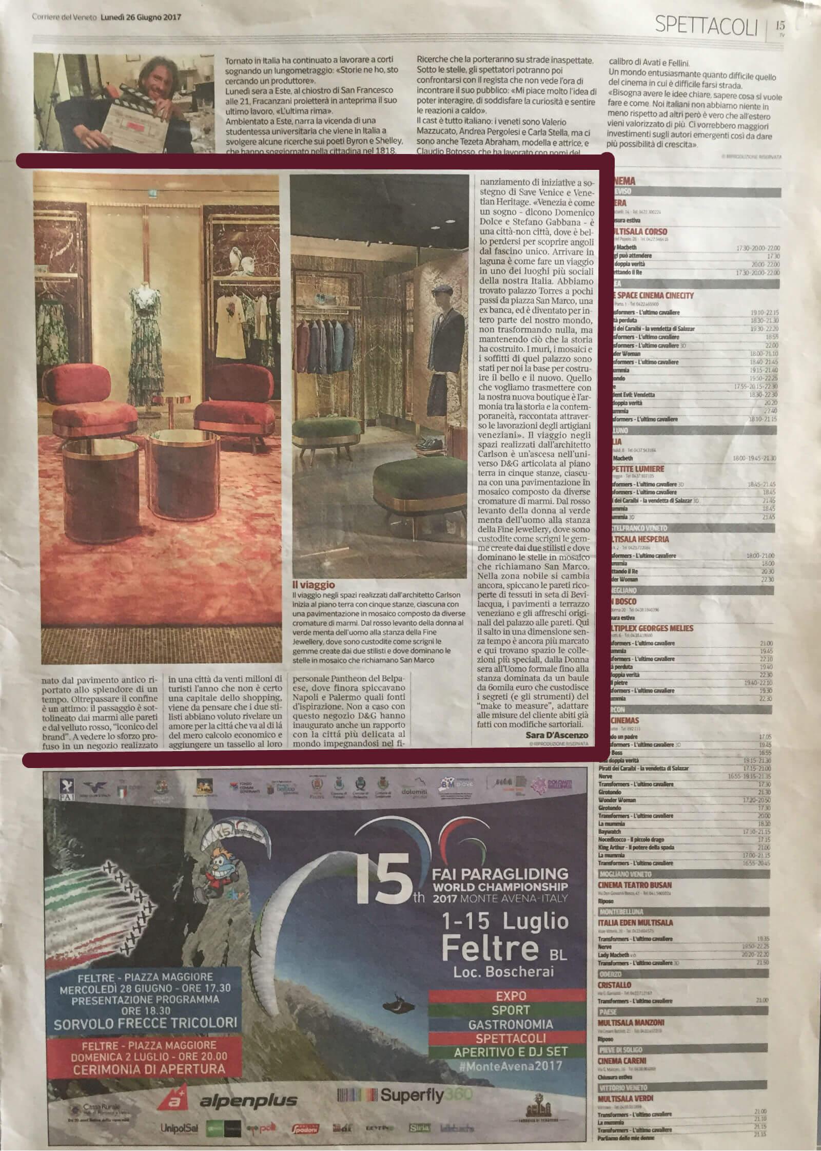 Corriere del Veneto 26-06-2017-15 | Tessiture Bevilacqua