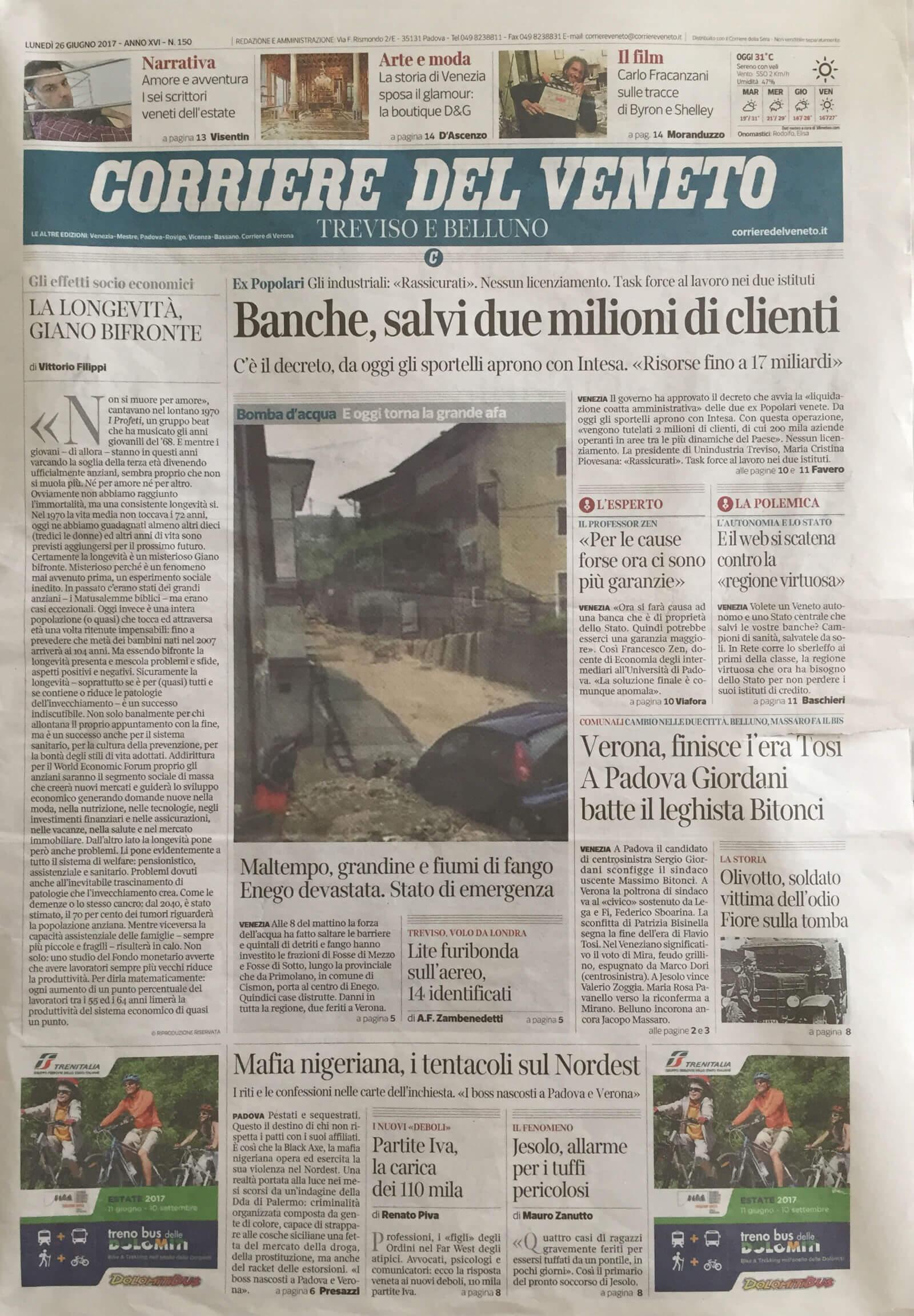 Corriere del Veneto 26-06-2017 | Tessiture Bevilacqua