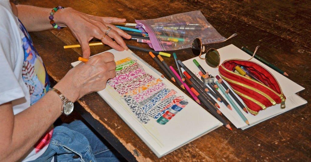 i disegni di tessuti per arredamento di matite in viaggio - Tessuti Per Arredamento