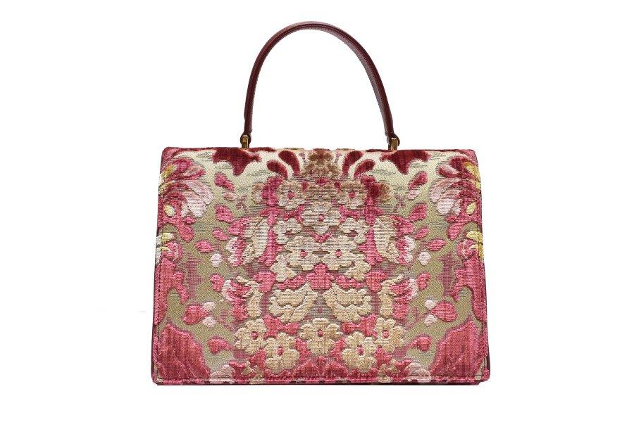 Borsa Peggy Velluto Fresie Multicolore Rosso | Tessitura Bevilacqua