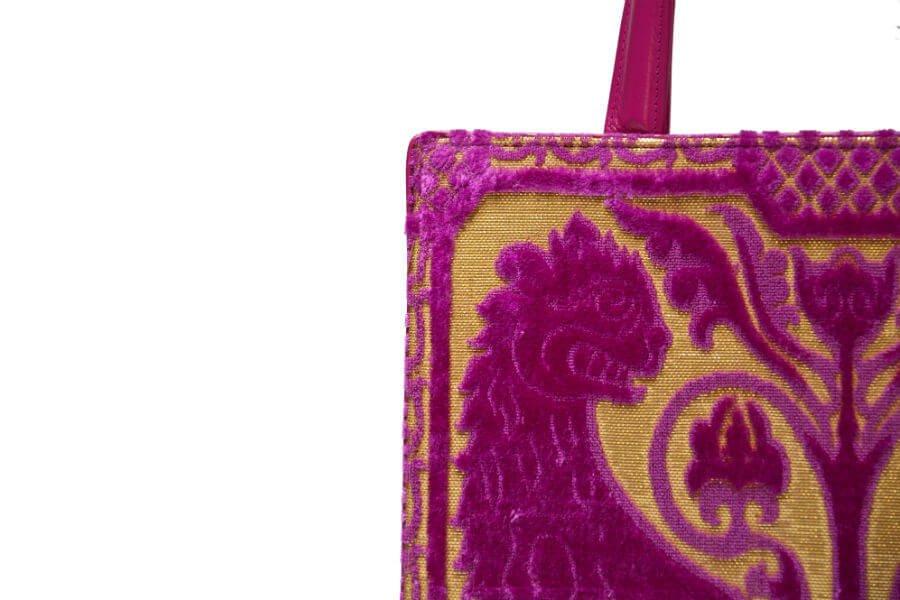 Bevilacqua Tote Bag-Velluto soprarizzo Leoni-dettaglio | Tessitura Bevilacqua