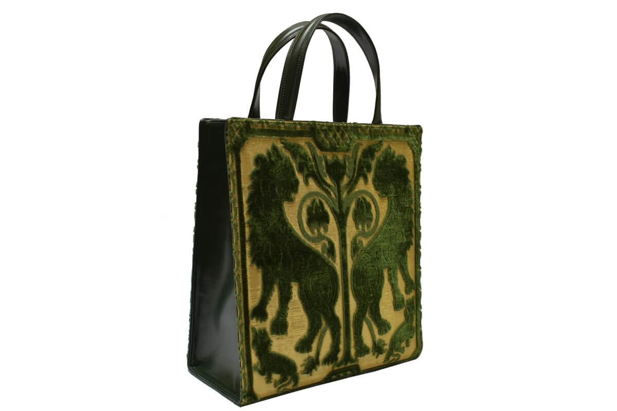 Bevilacqua Tote bag Velluto soprarizzo verde | Tessiture Bevilacqua