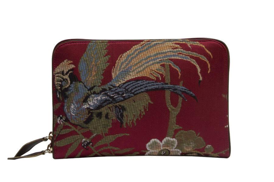 Bianca-Uccelli rosso | Tessitura Bevilacqua