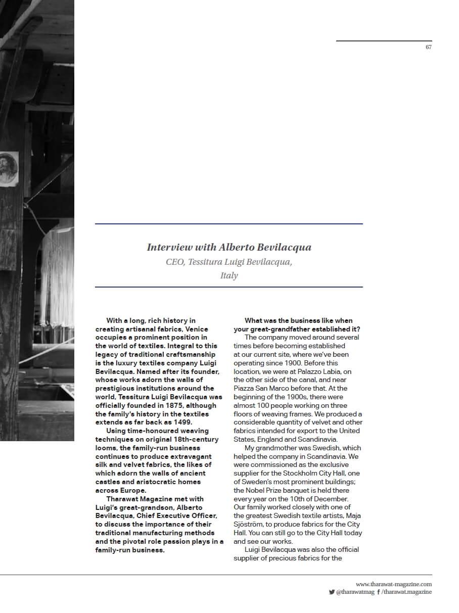 Tharawat Magazine-2019-05-2 | Tessiture Bevilacqua