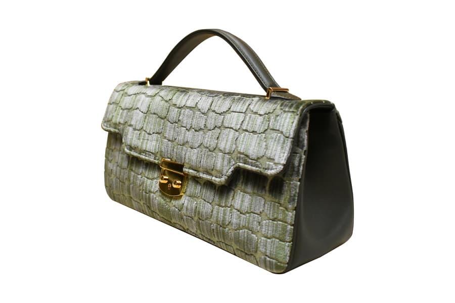 Anna baguette-bag XL velluto Coccodrillo verde | Tessitura Bevilacqua