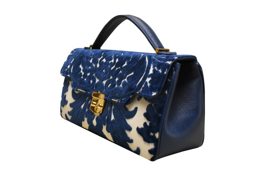 Anna baguette-bag XL velluto Lepanto blu | Tessitura Bevilacqua