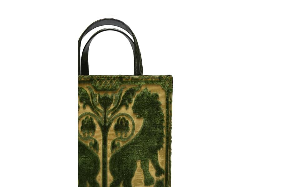Bevilacqua Tote Bag soprarizzo Leoni verde | Tessitura Bevilacqua