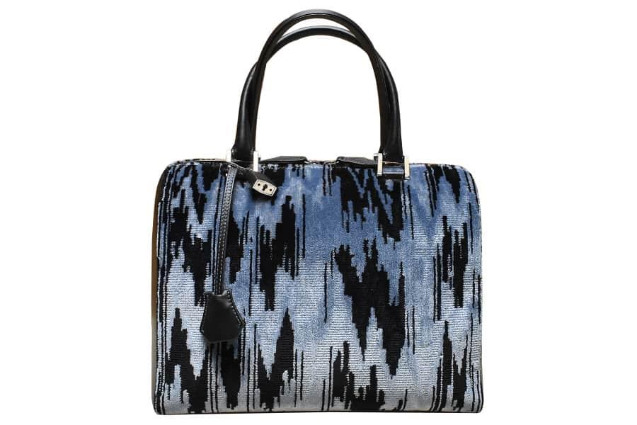 Caterina bauletto velluto moderno blu-nero | Tessitura Bevilacqua