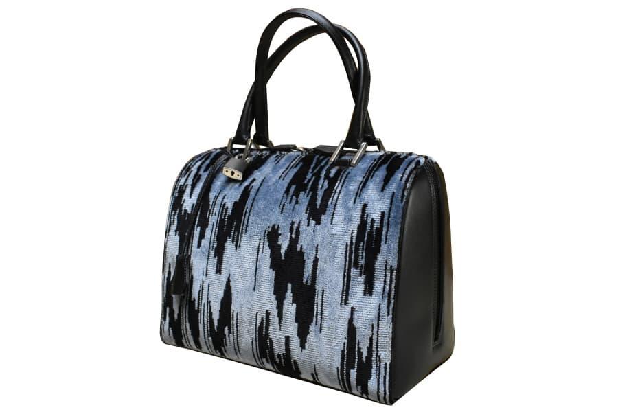 Caterina bauletto velluto moderno blu-nero side | Tessitura Bevilacqua