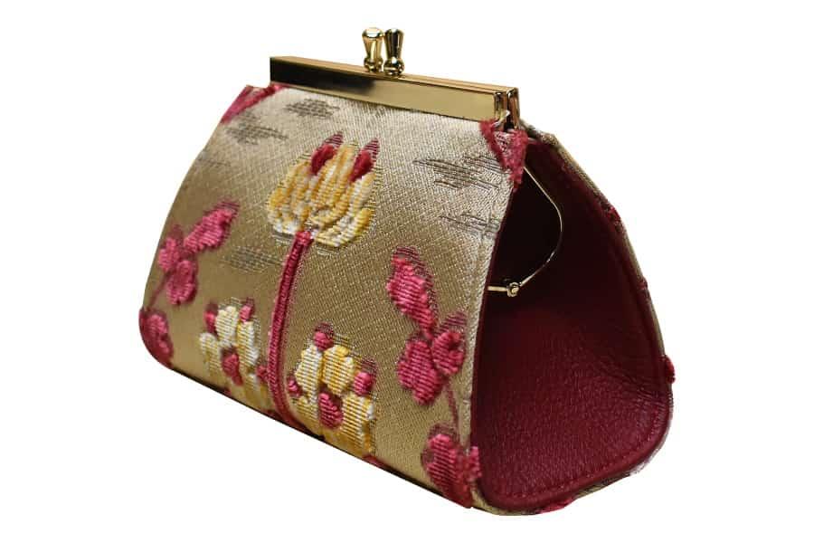 Isabella portamonete medio velluto Fresie rosso | Tessitura Bevilacqua
