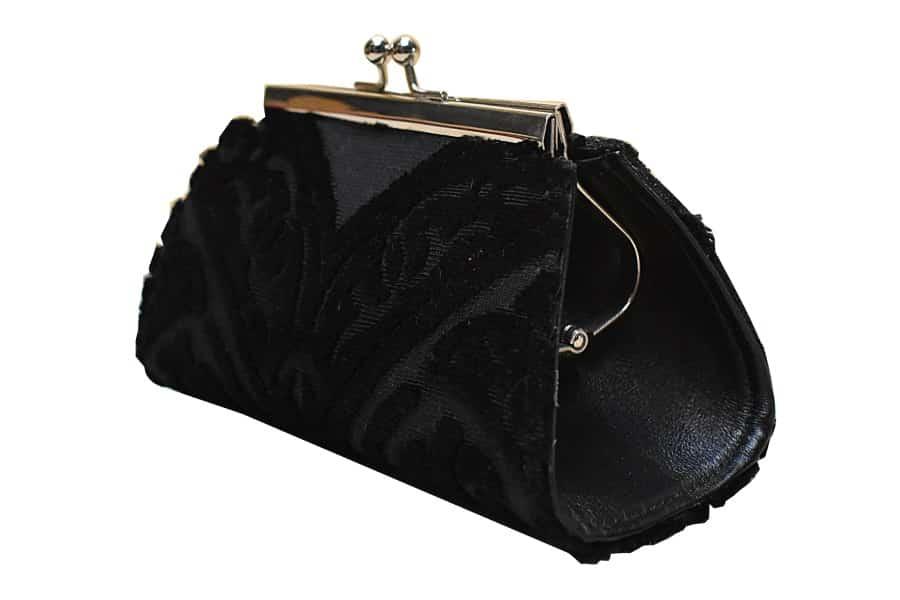 Isabella portamontete piccolo velluto Da Vinci nero | Tessitura Bevilacqua