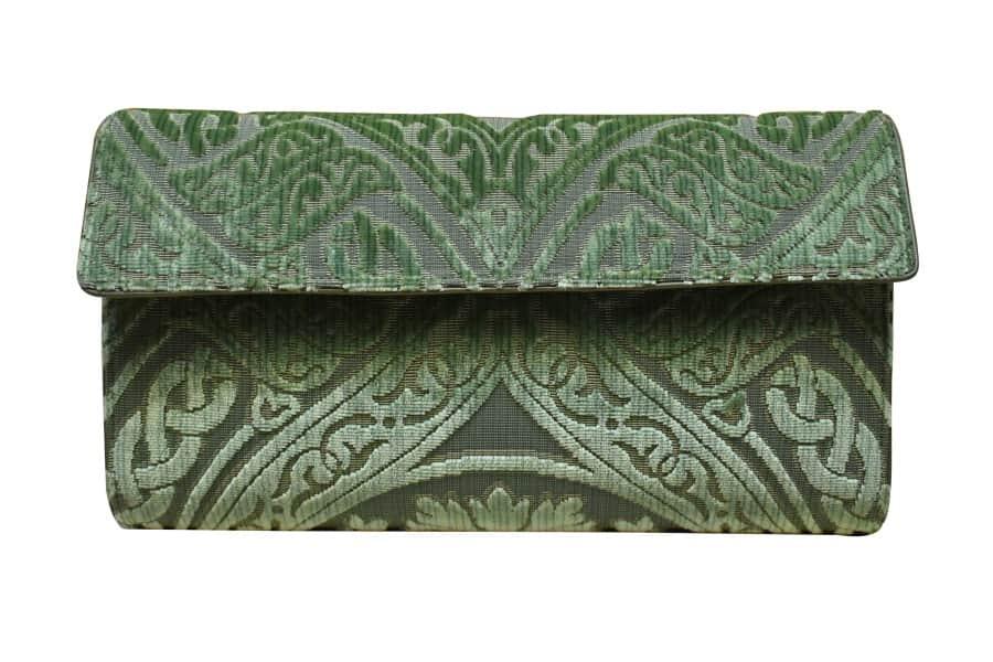 Lavinia borsa velluto Da Vinci verde | Tessitura Bevilacqua