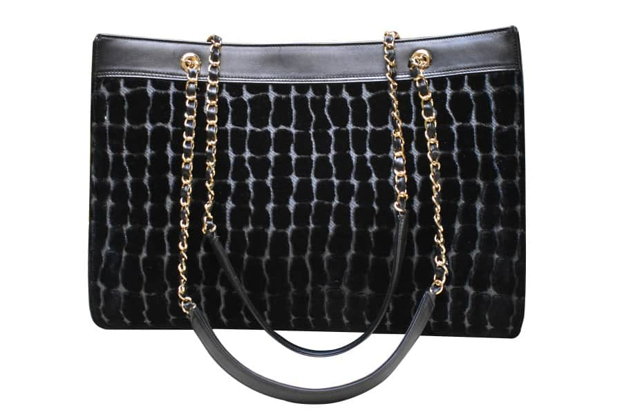 Maddalena borsa velluto Coccodrillo nero | Tessitura Bevilacqua