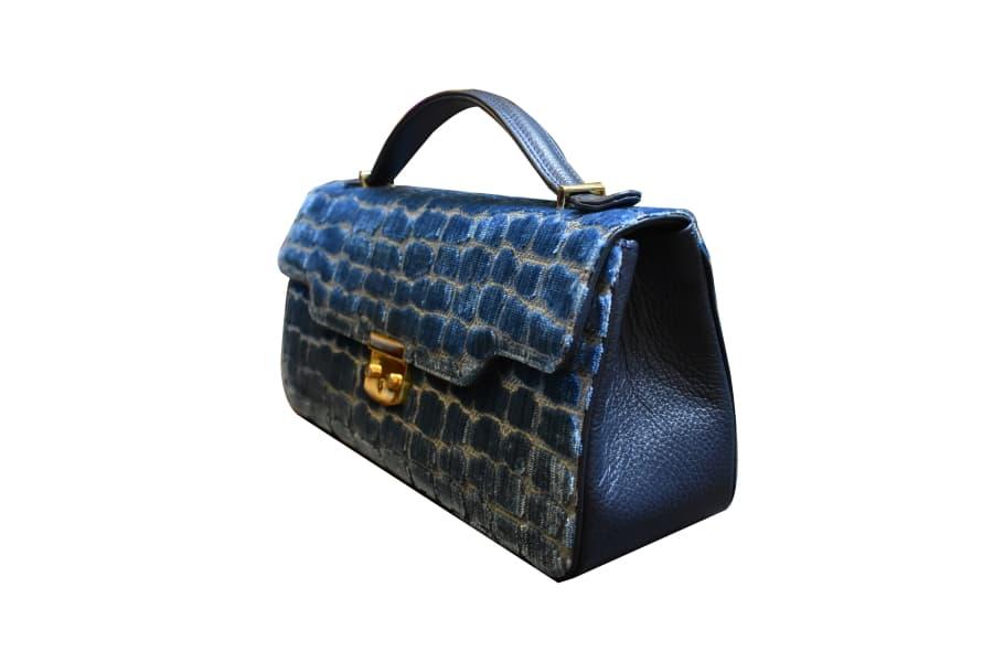 Anna baguette-bag XL velluto Coccodrillo indaco | Tessitura Bevilacqua
