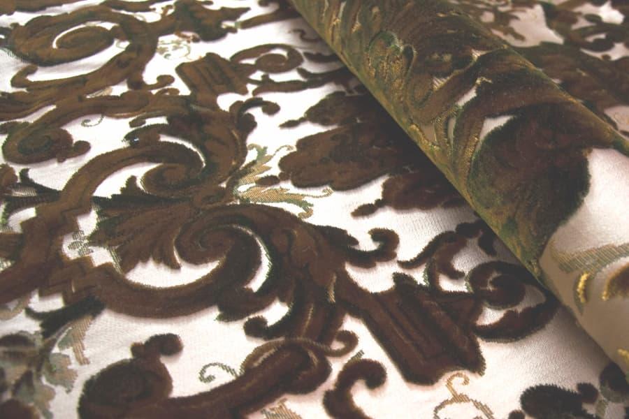 Velluto Grottesche Verde Oro | Tessitura Bevilacqua