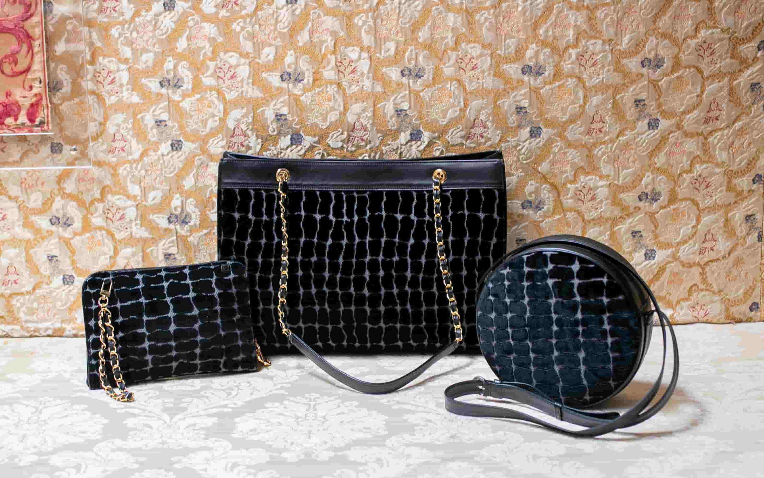 Borse Bianca Maddalena Antonia velluto Coccodrillo nero | Tessitura Bevilacqua