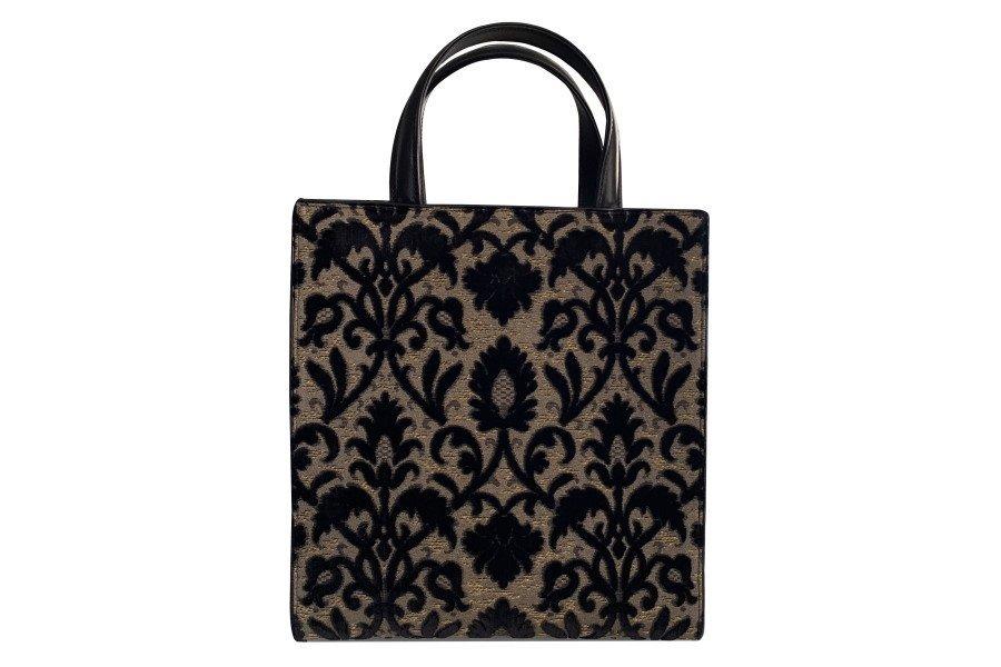 Bevilacqua Tote Bag in velluto Rinascimento nero
