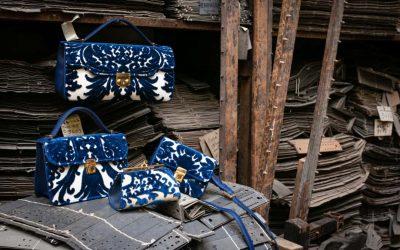 Raffinate volute blu nella collezione di borse Lepanto